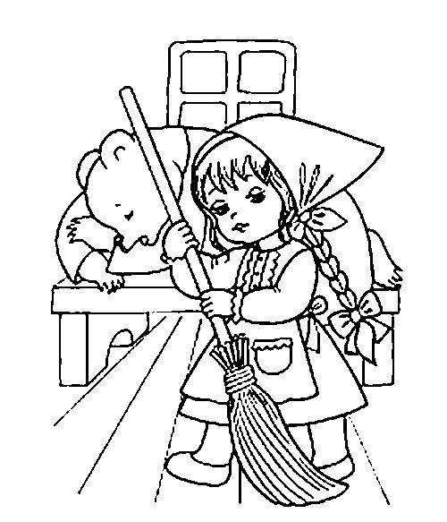 Розмальовки розмальовки до казки маша і ведмідь ведмідь спить, маша підмітає, маша и медведь