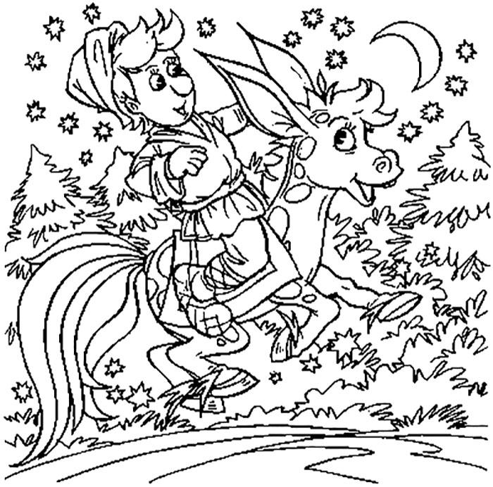Coloring coloring pages the fairy tale The Little Humpbacked Horse Little Humpbacked Horse, Ivan, night, coloring pages on the story