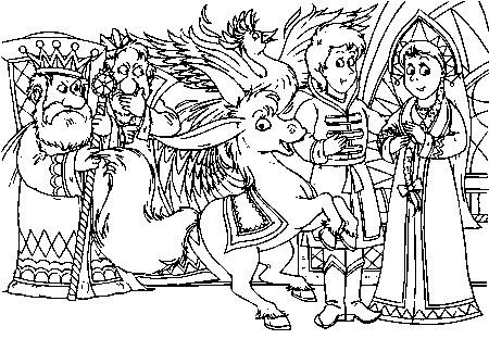 Coloring coloring pages the fairy tale The Little Humpbacked Horse Little Humpbacked Horse, King, Princess, Ivan, pictures rasrkaski