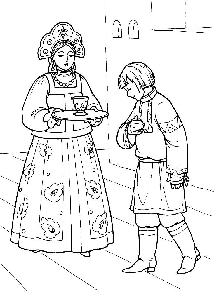 Coloring coloring pages the fairy tale The Little Humpbacked Horse Princess and Ivan, a fairy tale The Little Humpbacked Horse, coloring pages