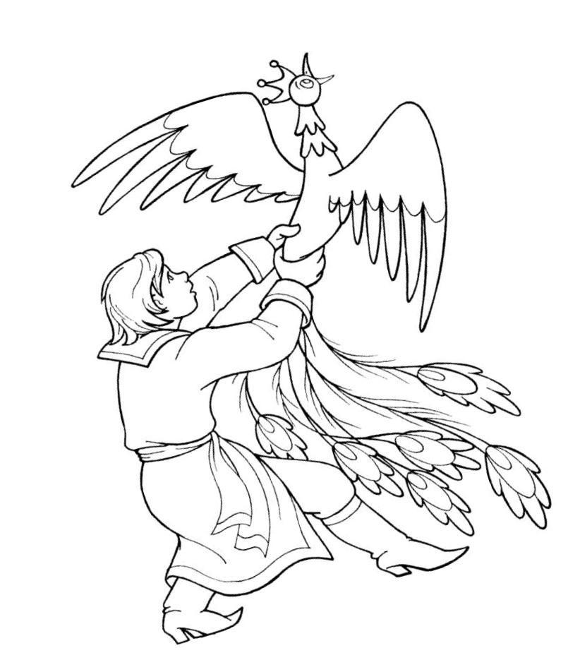 Coloring coloring pages the fairy tale The Little Humpbacked Horse Ivan and Sunbird, coloring pages on the story The Little Humpbacked Horse