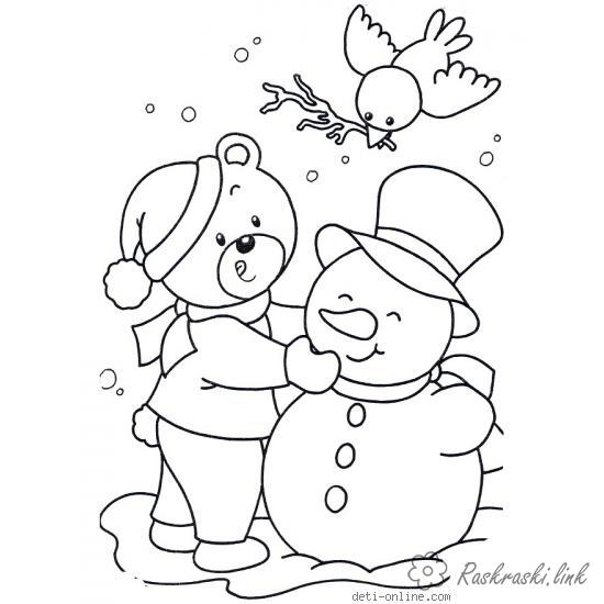 Розмальовки сніговик розмальовки дітям, чорно-білі картинки, новий рік, свято, зима, сніговик, пташка