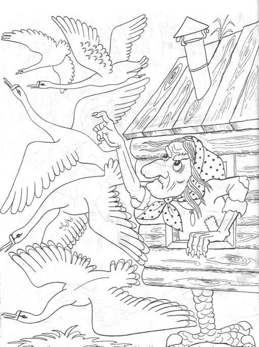 Coloring coloring pages to the tale geese swans Baba Yaga and geese swans tale coloring pages