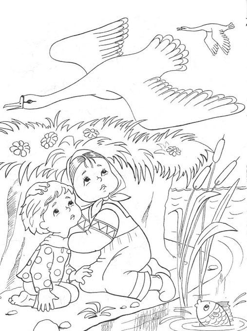 Coloring coloring pages to the tale geese swans sister and brother hiding by the river, geese Tale coloring pages