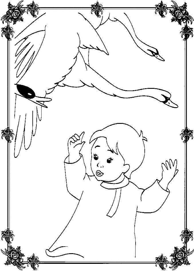 Coloring coloring pages to the tale geese swans boy and geese, a fairy tale coloring pages, free download