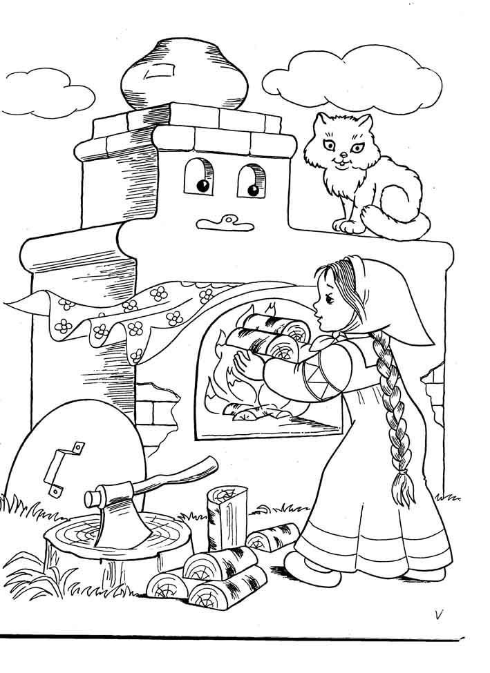Розмальовки дівчинка дівчинка розпалює піч, казка гуси-лебеді