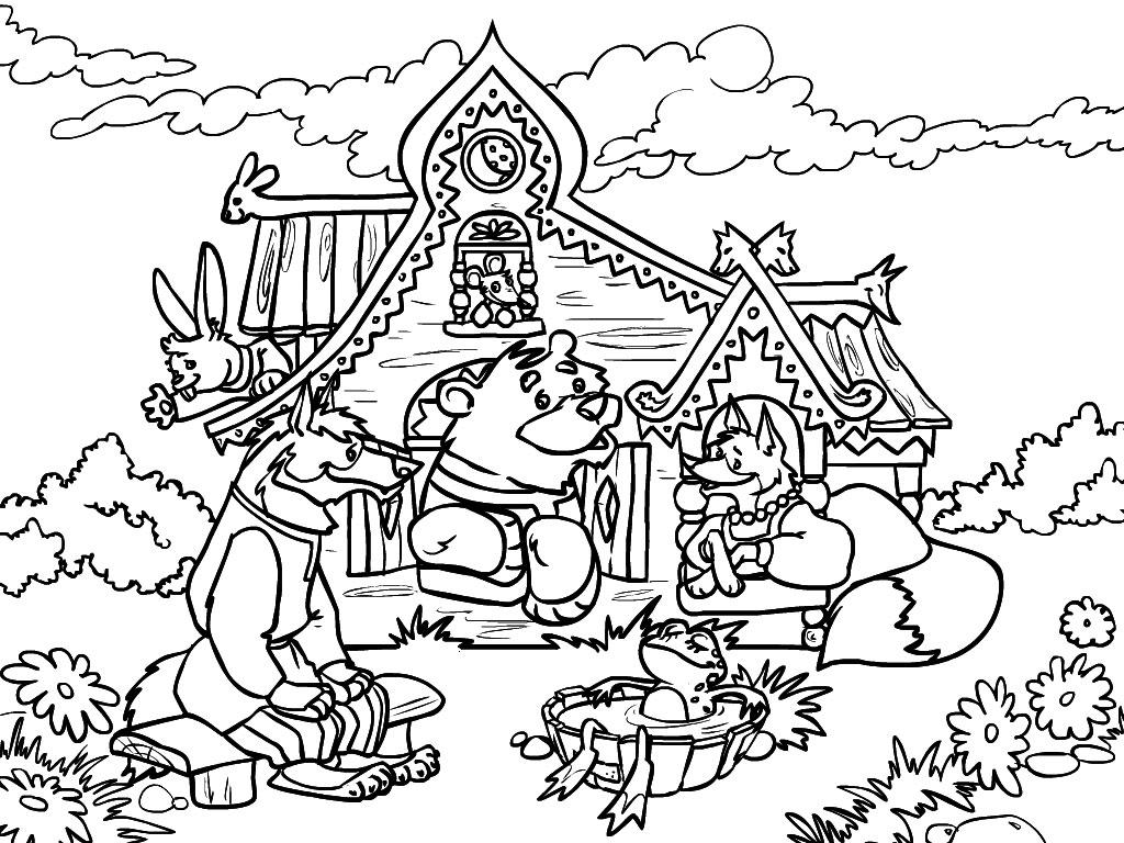 Coloring bear Teremok bear hare fox frog in karate with water flowers grass bench
