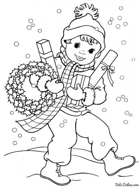 Розмальовки сніг Дитина і зима іграшки сніг шапка падають сніжинки