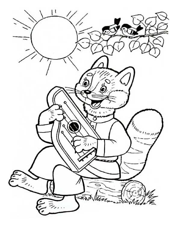 Coloring coloring pages the fairy tale The Golden Cockerel cat playing the harp, The Golden Cockerel Fairy Tale coloring pages