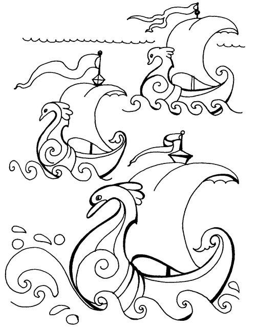 Coloring big By sea sailing ship breaking three big waves and the wind pulls the sail