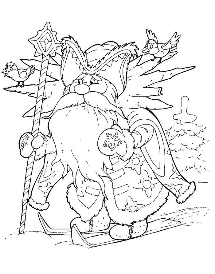 Розмальовки розмальовки до казки морозко морозко на лижах, казка Морозка розфарбування