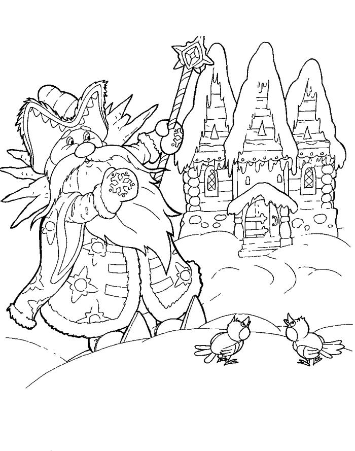Coloring coloring pages the fairy tale Jack Frost Frost near the hut, a fairy tale coloring pages download