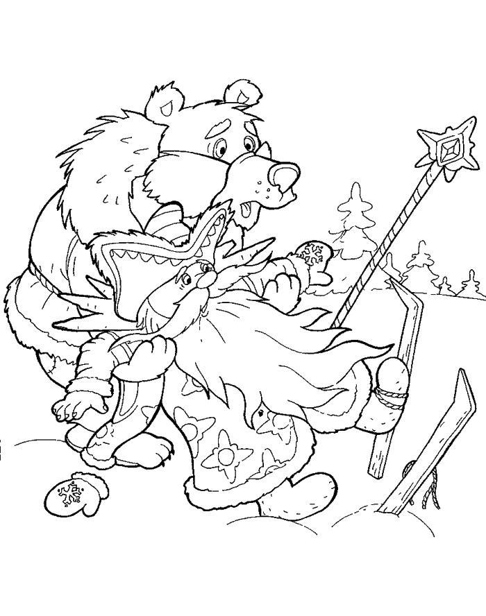 Розмальовки розмальовки до казки морозко мо </font></font>Розко і ведмідь, казка розфарбування, скачати