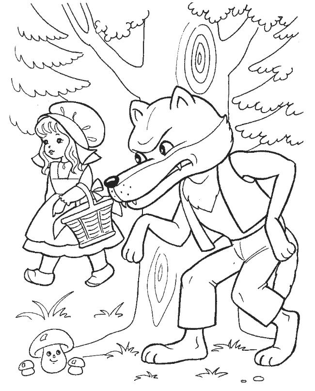 Coloring red Wolf lurking red hat under the tree, and wants her to fall