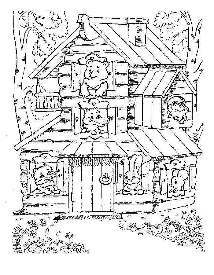 Розмальовки дві Всі дружно помістилися в теремок мишка зайчик лисичка жаба вовк і ведмідь а за теремком дві високі берези