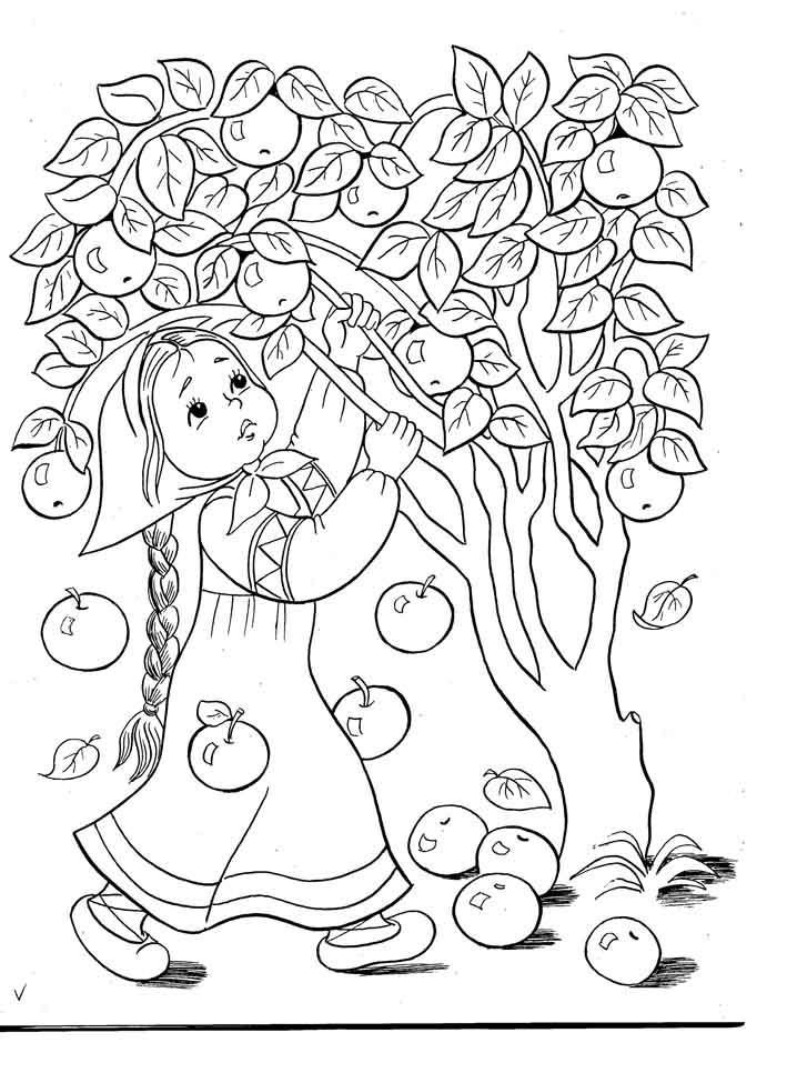 Розмальовки дівчинка Дівчинка струшує яблука з яблуні щоб потім їх зібрати