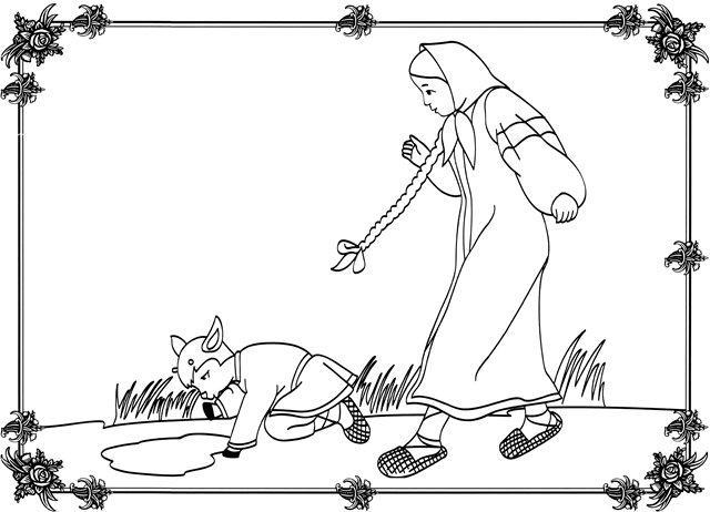 Розмальовки розмальовки до казки Оленка та братик Іванко Іванушка стає козленком, казки розмальовки