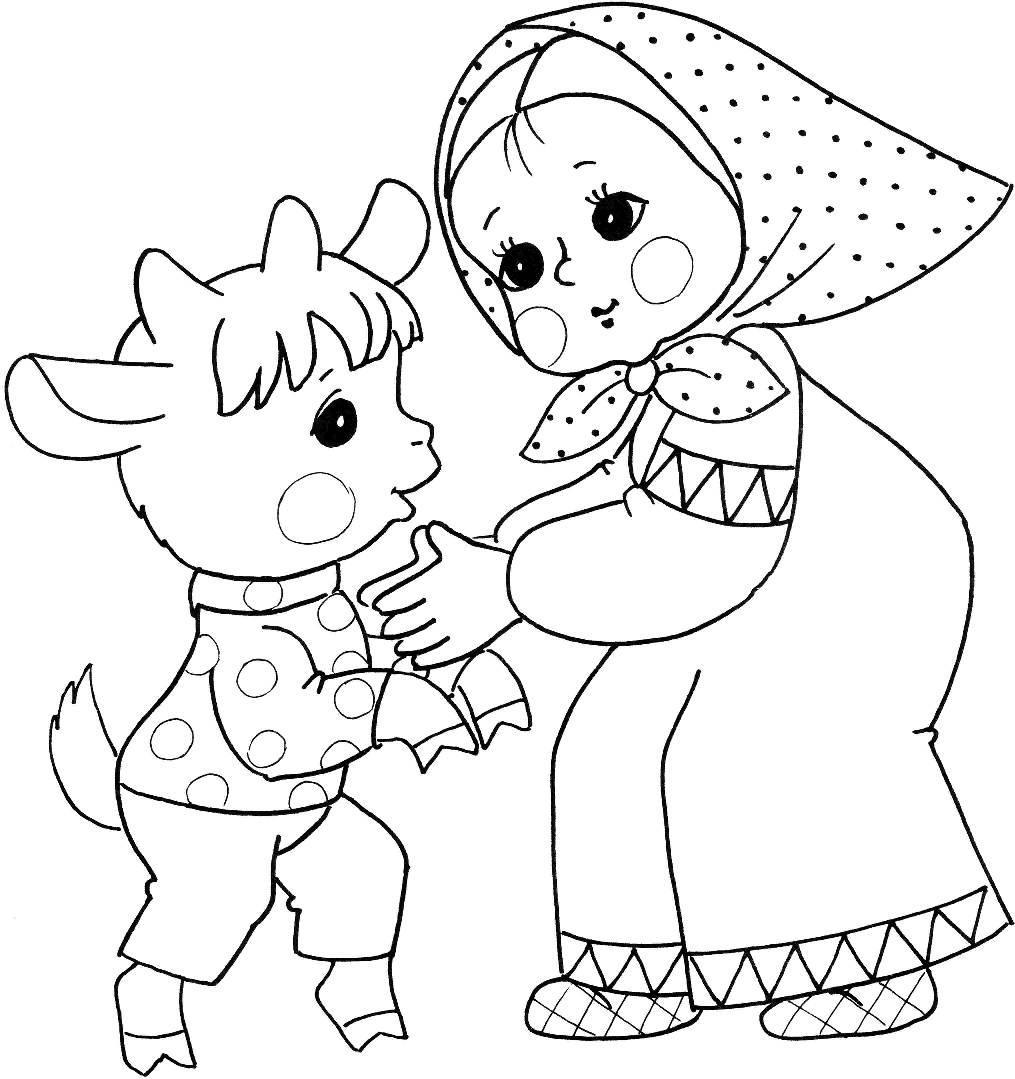 Розмальовки дівчинка дівчинка і козеня, казка сестриця Оленка та братик Іванко