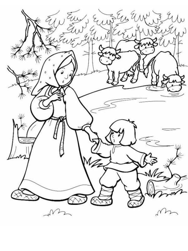 Розмальовки розмальовки до казки Оленка та братик Іванко сестриця Оленка та братик Іванко, казка розфарбування завантажити безкоштовно