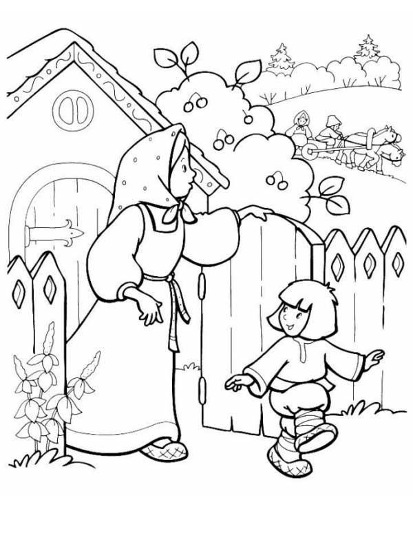 Розмальовки розмальовки до казки Оленка та братик Іванко Оленка та Іванушка біля будинку, казка розфарбування