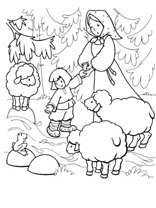 Розмальовки розмальовки до казки Оленка та братик Іванко овечки, сестриця Оленка та братик Іванко, казка розфарбування