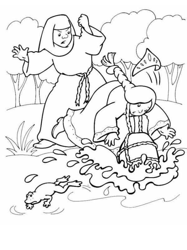 Розмальовки розмальовки до казки Оленка та братик Іванко відьма топить Оленці, сестриця Оленка та братик Іванко