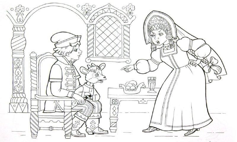 Розмальовки розмальовки до казки Оленка та братик Іванко молодець і козеня, Оленка, казка розфарбування