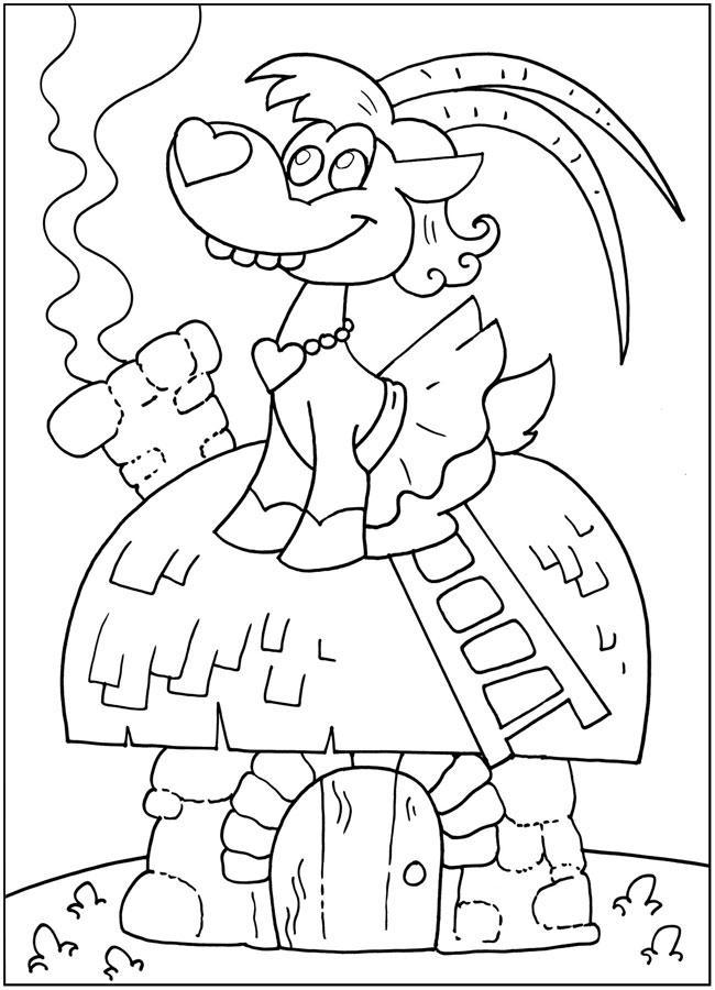 Раскраски рядом Коза сидит на крыше с большими рогами в юбке и рядом идет дым через трубу