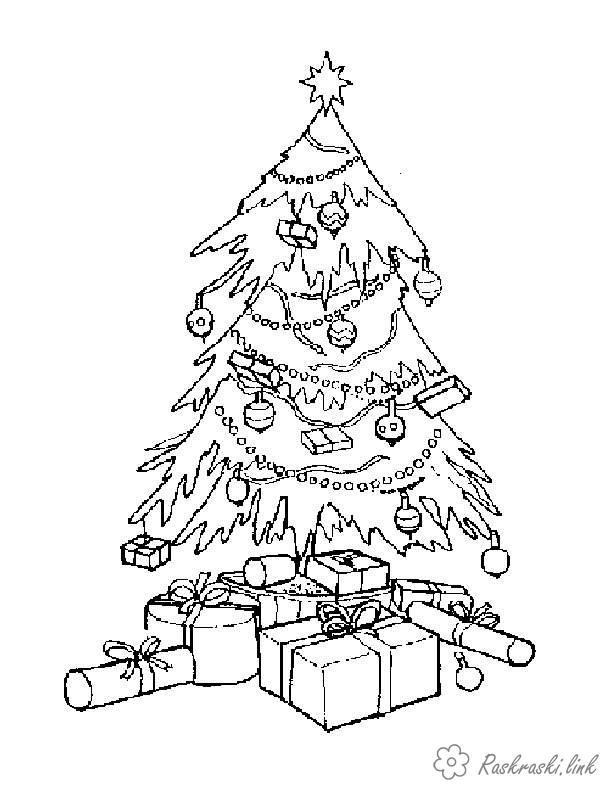 Раскраски зима раскраски детям, черно-белые картинки, новый год, праздник, зима, елка, подарки,