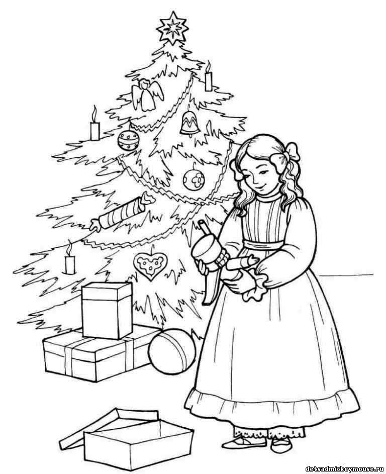 Розмальовки дівчинка Варто дівчинка біля ялинки з подарунками і тримає в руках лускунчика