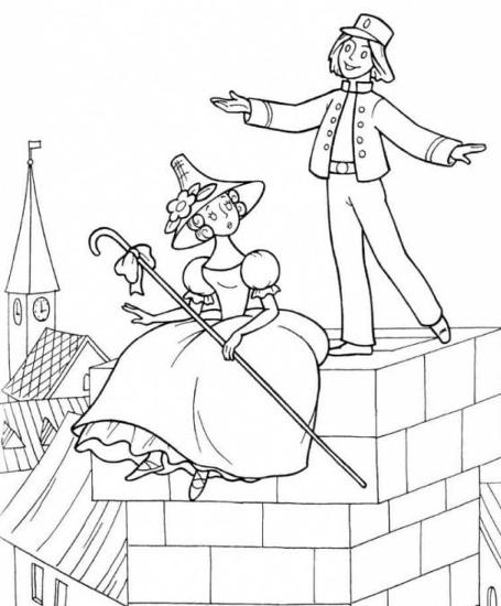 Coloring hat The girl sits on a pipe in a magnificent dress and hat on his head and walks beside the boy and says something