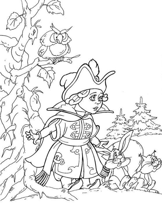 Coloring hat A boy in a beautiful dress with a hat on his head and next to him hare and ladders and branch owl sitting