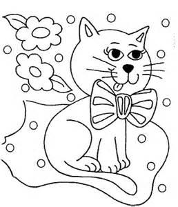 Coloring coloring pages books for children tales Little cat with a bow at the neck sitting on a bed