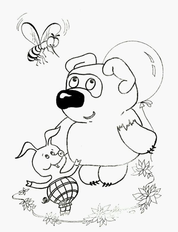Coloring winnie Worth Winnie the Pooh and heels and feet holding a balloon over his head, and they fly wasp