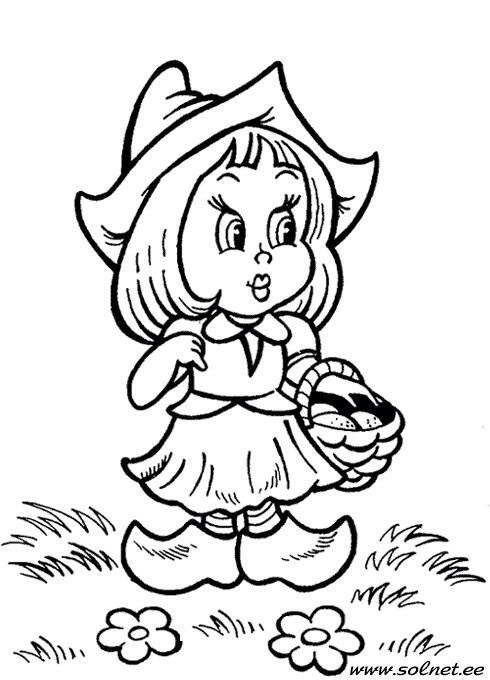 Coloring red Should Red Riding Hood in a clearing in wooden shoes with a basket in her hand