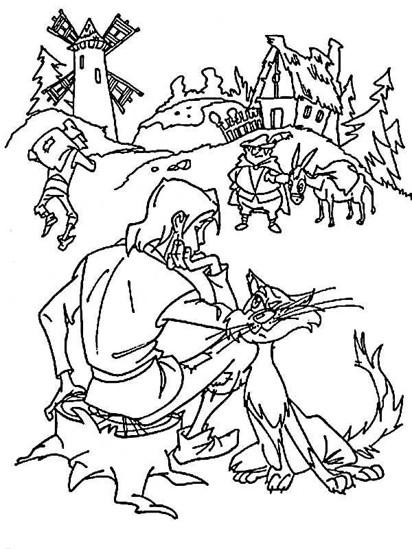 Раскраски пеньке Сидит парень на пеньке рядом с ним трется кот, а впереди стоит мужик с ослом