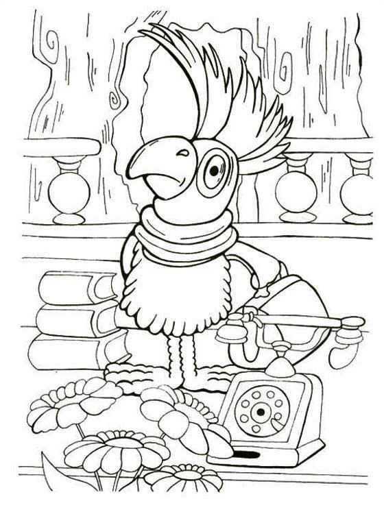 Розмальовки стоїть Варто папуга тримає в руці валізу, а поруч стоїть телефон