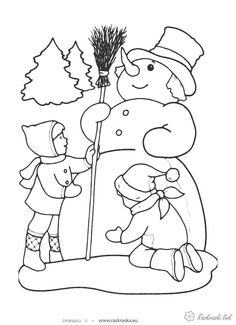 Раскраски снеговика раскраски детям, черно-белые картинки, новый год, праздник, зима, снеговик, дети
