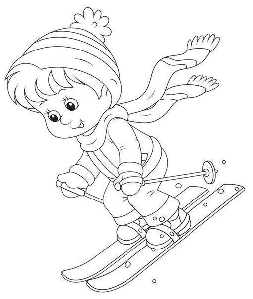 Розмальовки гори хлопчик, лижі, лижні палиці, гірський схил, зима