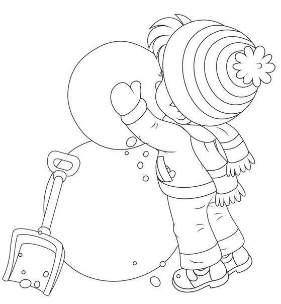 Раскраски снеговика снеговик, зима, мальчик, лопата