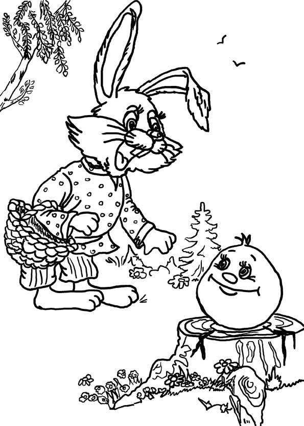 Раскраски пеньке Зайчонок стоит с корзинкой в лапках а колобок лежит на пеньке