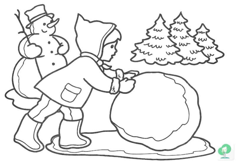 Раскраски снеговика Маленькая девочка лепит из снега второго снеговика