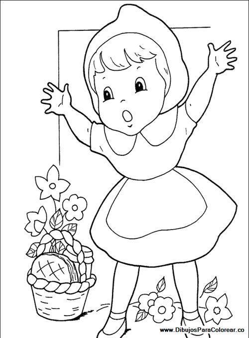 Раскраски рядом Стоит красная шапочка с высоко поднятыми руками а рядом стоит корзинка